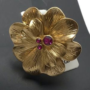 Lia Sophia Cocktail Statement Flower Ring
